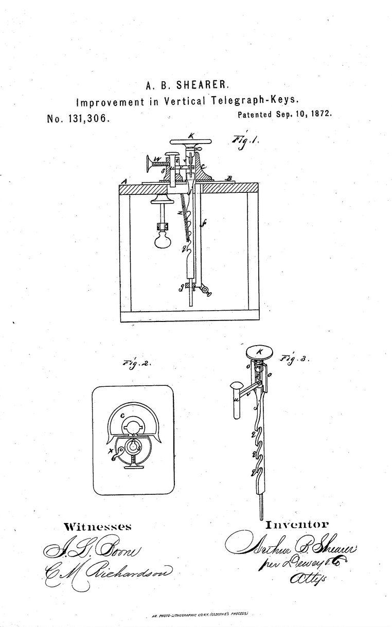 Telegraph Keys Electromagnetic Relay Inventor Vertical Key Patented September 10 1872 By Arthur Shearer Davisville California