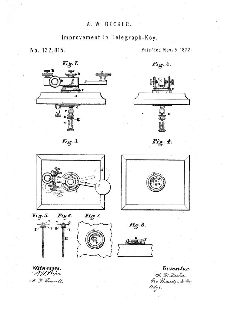 Telegraph Keys Go Devil Ignition Switch Wiring Diagram Rotating Key Patented November 5 1872 By Almarian Decker Cleveland Ohio
