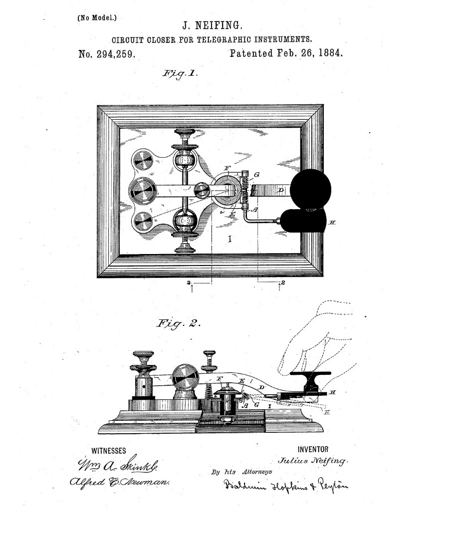 Telegraph Keys Go Devil Ignition Switch Wiring Diagram Neifing Circuit Closer Patented February 26 1884 By Julius Dyer Indiana